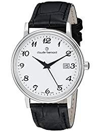 Claude Bernard Men's 53007 3 BB Classic Gents Analog Display Swiss Quartz Black Watch