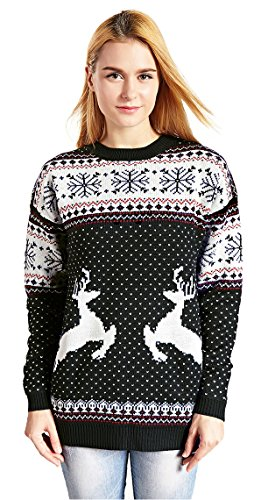 V28 Women's Christmas Reindeer Snowflakes Sweater Pullover (Tag S (US size 6), Black-PairedRD) (Sweater Reindeer)