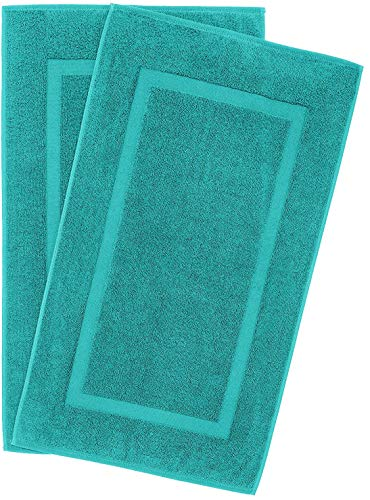 900 GSM Machine Washable 21×34 Inches 2-Pack Banded Bath Mats, Luxury Hotel and Spa Quality, 100% Ring Spun Genuine Cotton, Maximum Softness and Absorbency by United Home Textile, Aqua Ocean