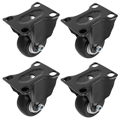 uxcell 1.6 Inch Dia Polyurethane Wheel Double Bearing Rigid Top Plate Casters Black 4Pcs