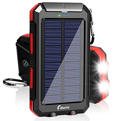 Solar Charger, F.DORLA 20000mAh Solar Power Bank Portable Charger for Camping External Battery Backup Charger with Dual 2 USB Port/LED Flashlights for iPhone Android Cellphone