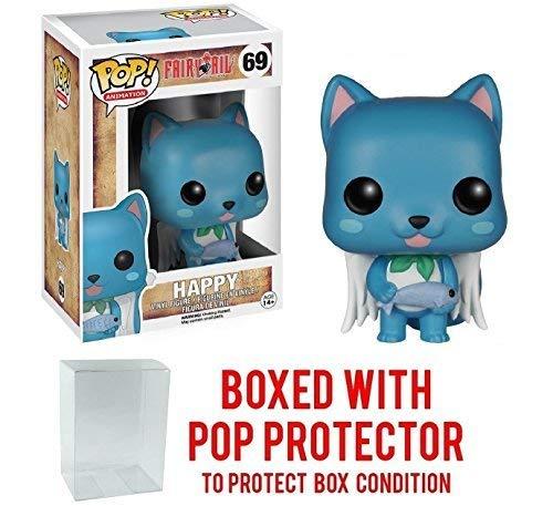 Funko Pop! Anime: Fairy Tail - Happy Vinyl Figure (Bundled with Pop BOX PROTECTOR CASE) (Fairy Tale Happy)