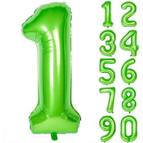 (40 Inch Green Large Numbers 0-9 Birthday Party Decorations Helium Foil Mylar Big Number Balloon Digital 1)