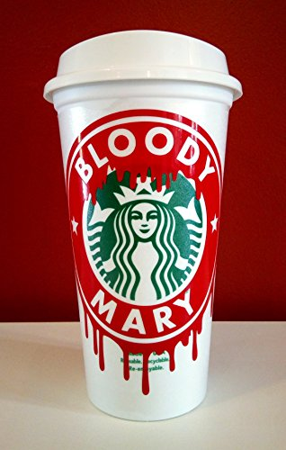 GLITTER Halloween Bloody STARBUCK's 16 oz Reusable Mug Lid Personalized Vampire Zombie Walking Dead -