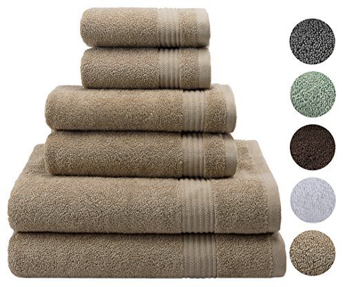 "2018 (New Garnering) Hotel & Spa Soft Kitchen Bathroom Quality 2 Bath Towels 30x54"" - 2 Hand Towels 16x28"" - 2 Washcloths 13""x13"" - 6 Hell Turkish Cotton Towel Set - Organic Eco-Friendly, Sand Taupe"