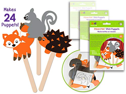 (24 Pk Foam Stick Puppets Woodland Animals,Woodland Party Craft Kit, Party Arts & Craft Activity Kit for Boys & Girls , Kids Clean & Neat Fun Self Adhesive Face Stickers - Bulk Pack)
