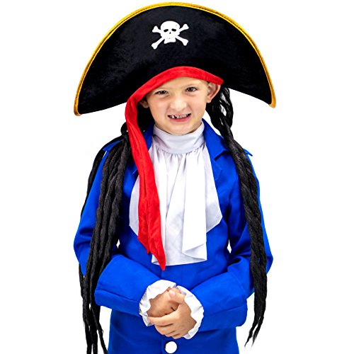 Boo! Inc. Pirate Hat With Dreadlocks Halloween Costume Accessory - Dress Up Theme Party Roleplay & Cosplay Headwear
