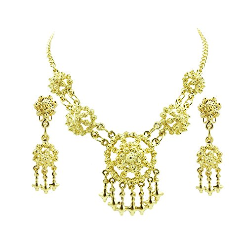 Siwalai Thai Traditional Gold Plated Necklace Earrings Jewelry Set 18 Inches