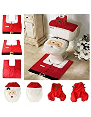 3Pcs Santa Toilet Seat Cover, Toilet Paper Box Cover and Rug Set (Santa Toilet Set)