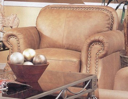 (Coaster Home Furnishings Savannah Caramel Color 100% Leather Sofa Couch Chair w/Nail Head)