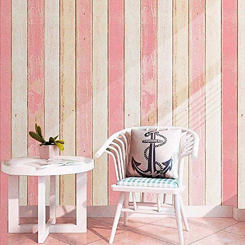 "Faux Wood Wallpaper, H2MTOOL Removable Self Adhesive Shiplap Contact Paper (17.7"" x 78.7"", Pink)"