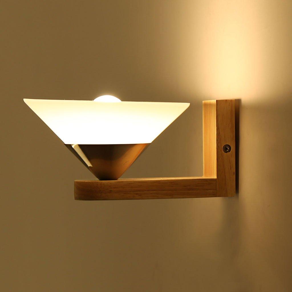 Unbekannt Met Love Einfache und Moderne kreative Holz LED Wohnzimmer Flur Korridor Lampe Schlafzimmer Wand Lampe Nachttischlampe E27