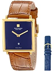 Steinhausen Women's LW516-GU Gold-Tone Stainless Steel Watch With Blue Dial and Interchangeable Bands