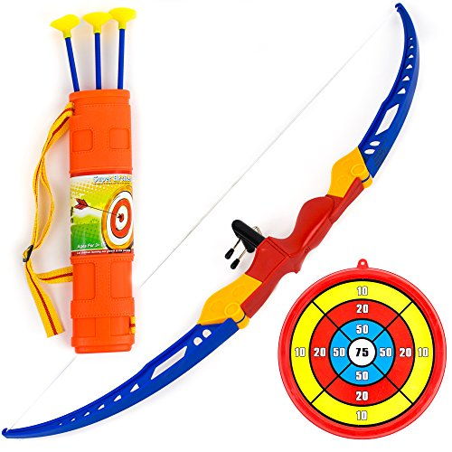 Toysery Bow and Arrow for Kids - 13-inch Archery Bow with 3 Suction Cups Arrows, Target, and Quiver - Practice Outdoor Toys for Children Above 3 Years of Age -
