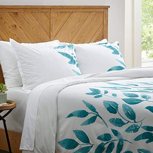 - Stone & Beam Modern Leaf Print Duvet Comforter Cover Set, Full/Queen, White and Green