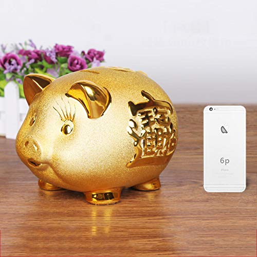 Holiday Porcelain - GE&YOBBY Gold Pig Piggy Bank Lucky Porcelain Fortune Money Box for Home Decor Holiday Birthday Gift-f 28.5x23x21cm(11x9x8inch)