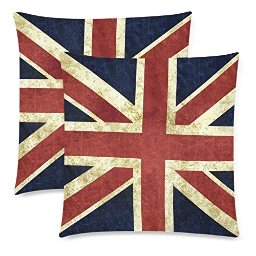 InterestPrint 2 Pack Vintage Britain Flag Union Jack Cotton Throw Pillowcase 18x18 Twin Sides, Red Blue Flag of England Zippered Cushion Pillow Case Cover Set Decorative for Couch Bed - Jack Decorative Pillow