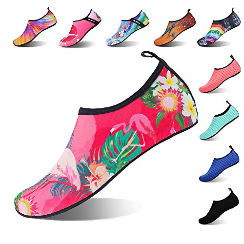 IceUnicorn Beach Mens Shoes Barefoot Snorkeling Running Skin for Socks Shoes Surfing Diving Womens Swim Outdoor Yoga Water Exercise Flamingos PqrgEwPC