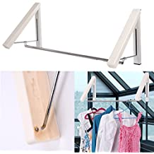 Clothes Hanger - Folding Clothes Racks(Stainless Steel+ Plastic Case)| Wall Mounted Clothes Drying Rack| Home Storage Organiser Space Savers for Living Room/Bathroom/Bedroom/Office - 1 Kit