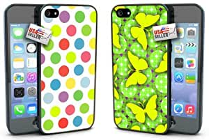 Colorful Polka Dot Pattern with Butterflies Designer Cases TWO PACK for iPhone 5c