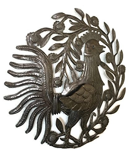 Metal Rooster, Country Kitchen Wall Art, Sturdy Artistic Design from Haiti 15.5'' X 15.75'' by it's cactus - metal art haiti (Image #1)
