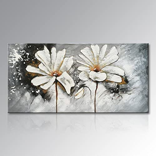 Seekland Art Hand Painted Flower Oil Painting on Canvas Floral Wall Art Abstract Black and White Lotus Modern Decor for Bedroom Living Room Dining Room Framed Ready to Hang