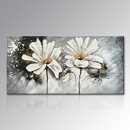 Seekland Art Hand Painted Large White Flower Oil Painting on Canvas Abstract Wall Art Modern Floral Decor Hanging Contemporary Artwork For Living Room Unframed (72''W x 36''H, White) by Seekland Art