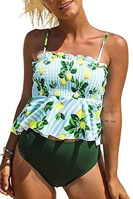 CUPSHE Women's Lemon Print Peplum Bikini