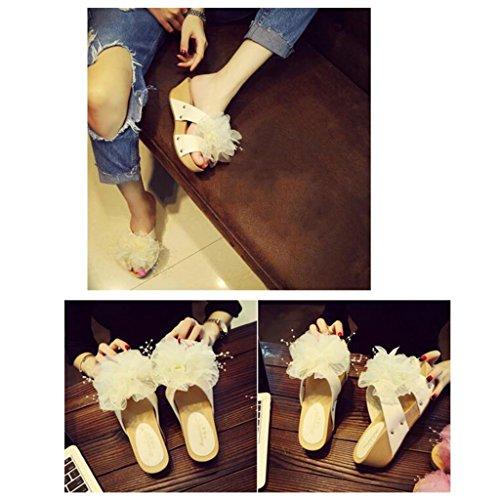 Pantoufles Épaisses Plage couleur Air Chaussures En Grandes Sandales À Taille D'été Eu37 Voyage Bas Muffin Plein uk4 Femmes Semelles 5 5 Fleurs Pink Blanc Xy® cn37 qTtZKwvw