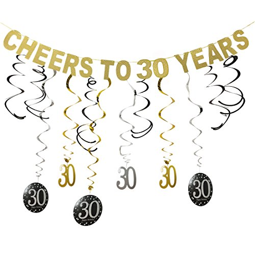 Gold 30th Birthday Party Decorations KIT - Cheers to 30 Years Banner, Sparkling Celebration 30 Hanging Swirls, Perfect 30 Years Old Party Supplies 30th Decorations