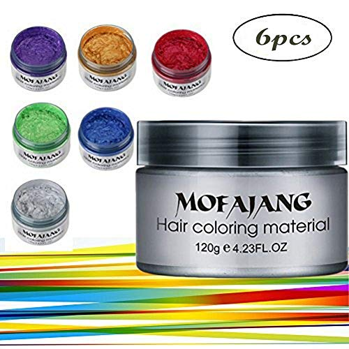 Spdoo 6 Colors Unisex Multi-Color Temporary Modeling Fashion DIY Hair Color Wax Mud Hair Dye Cream - Hair Color Styling Gel
