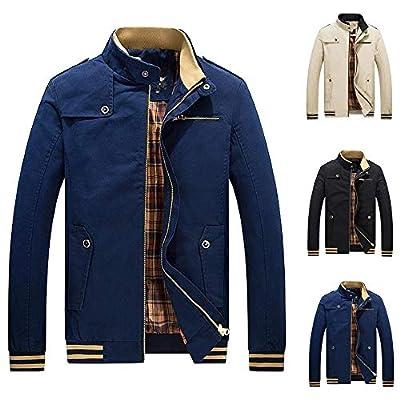 POHOK Men's Winter Warm Jacket,Slim Long Overcoat, Outwear Trench Zipper Coat