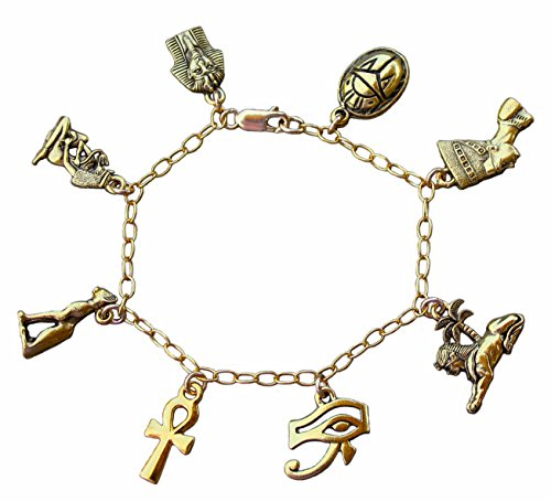 Ancient Egypt Gold Charm Bracelet- Egyptian Ankh, Nefertiti, King Tut, Cleopatra, Eye of Horus, Sphinx, Scarab, Cat - Size S (7 Inches (Small)) ()