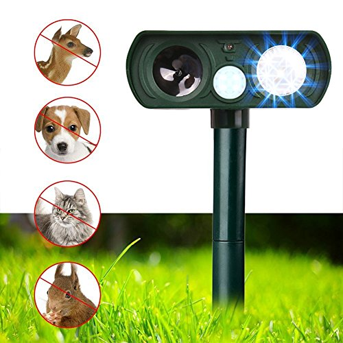 (Dog Repellent, Outdoor Solar Powered & Weatherproof Ultrasonic Dog/Cat/Mosquito Repeller)