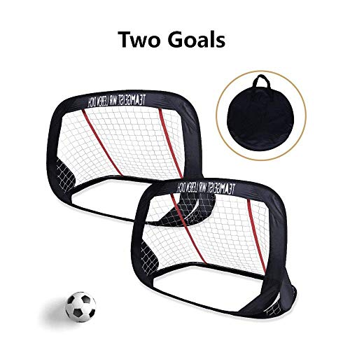 WisHome 4ft Foldable Children Pop-Up Play Goal for Outdoors Portable Square Soccer Goal with Carrying Bag Practice Training Sports Gift Idea for Kids (Set of 2) (Play Goals) (Outdoor Play Games For Kids)