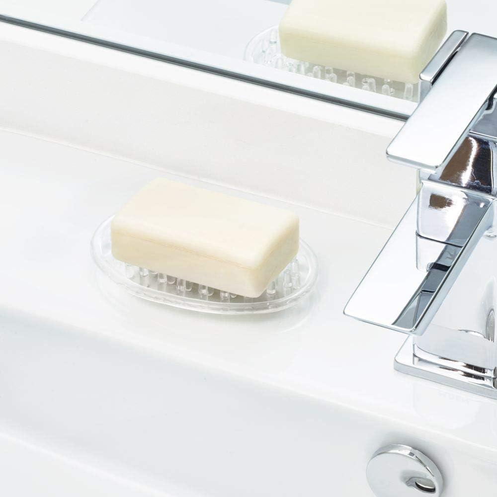 iDesign porte savon transparent petit support savon ovale en plastique porte /éponge ou porte savon en lot de 3 avec picots int/égr/és