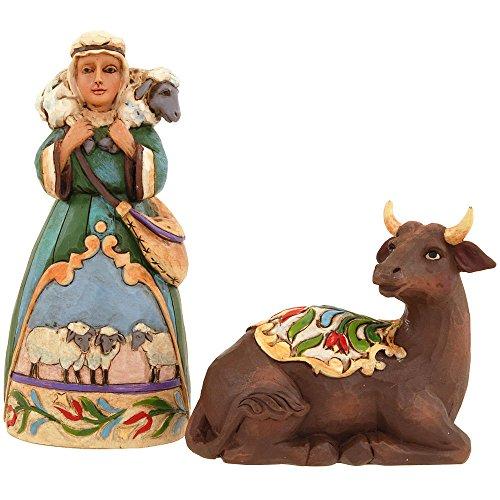 Jim Shore for Enesco Heartwood Creek Ox and Shepherd Set-MiniNatvty Figurine, 4-Inch