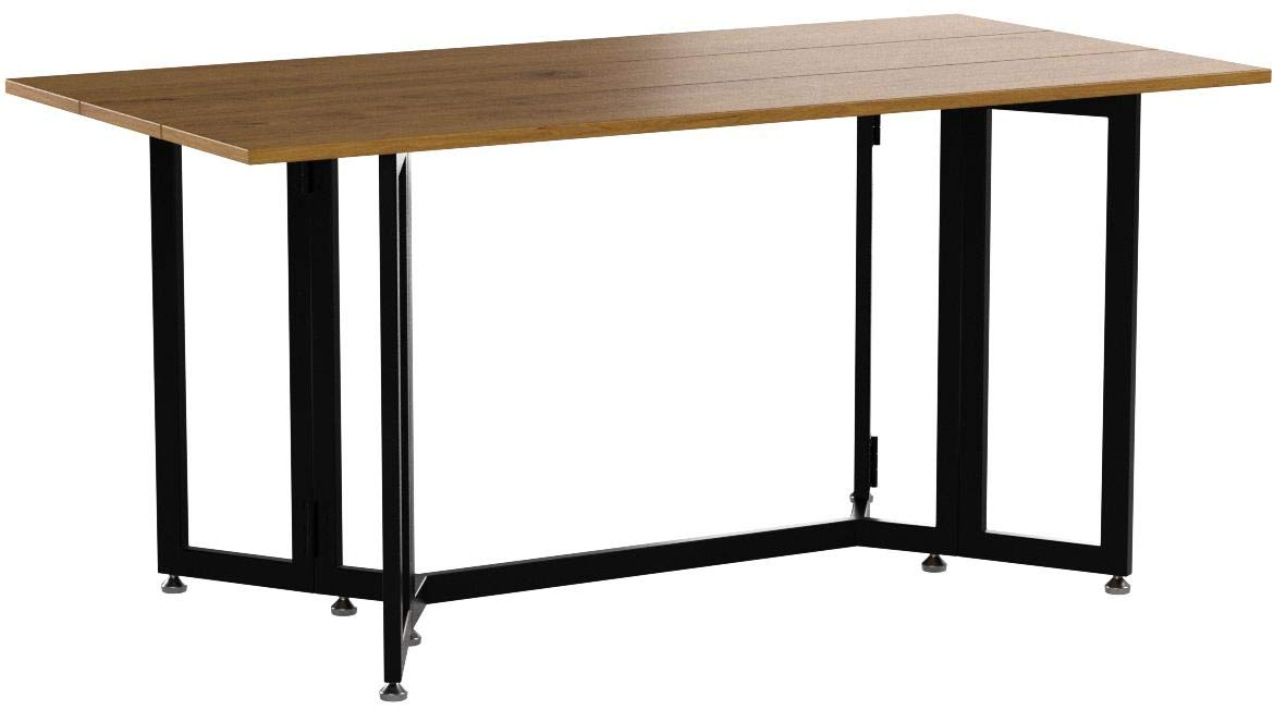 Holly & Martin Driness Drop Leaf Console Dining Table, Weathered Oak Finish with Black Metal Base by Holly & Martin (Image #7)