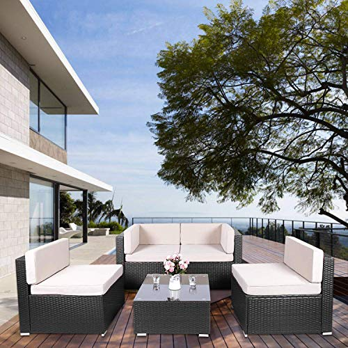 Aclumsy 5 Piece Outdoor Patio Furniture Sets PE Rattan Conversation Sofa Set Sectional Wicker Chair with Cushions and Tea Table Black