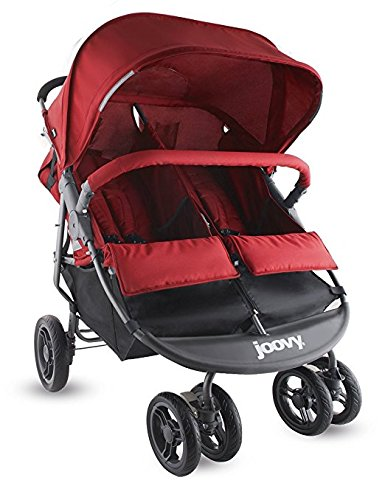 Double Tandem Baby Strollers, Umbrella For Lightweight Use (3 Pounds) With Infants, Toddlers And Kids, JPM Certified, Red Color