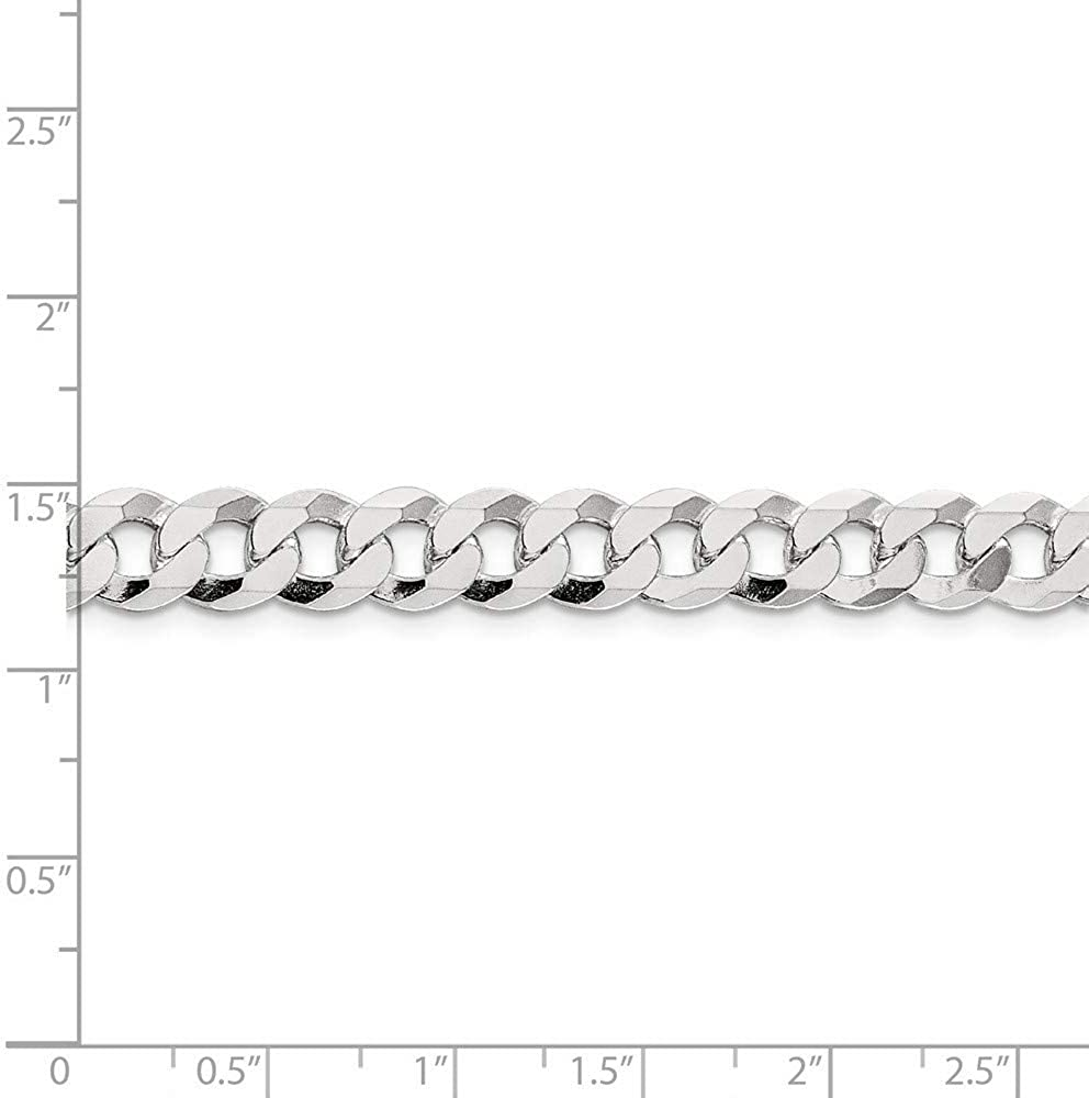925 Sterling Silver Close Link Flat Curb Chain Necklace in Silver Choice of Lengths 20 22 24 16 18 and Variety of mm Options