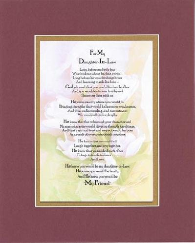 Touching and Heartfelt Poem for Daughters - To My Daughter-in-Law Poem on 11 x 14 Double Beveled Matting (Burgundy)