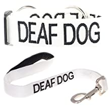 """""""DEAF DOG"""" White Color Coded Semi-Choke Dog Collar & 2 Foot Leash Set (No/Limited Hearing) PREVENTS Accidents By Warning Others Of Your Dog In Advance!"""