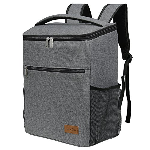Cooler Festival - Lifewit Insulated Cooler Bag Backpack, Soft Cooler Soft-Sided Cooling Bag for Beach Picnic Camping BBQ, 24L 30-Can, Grey