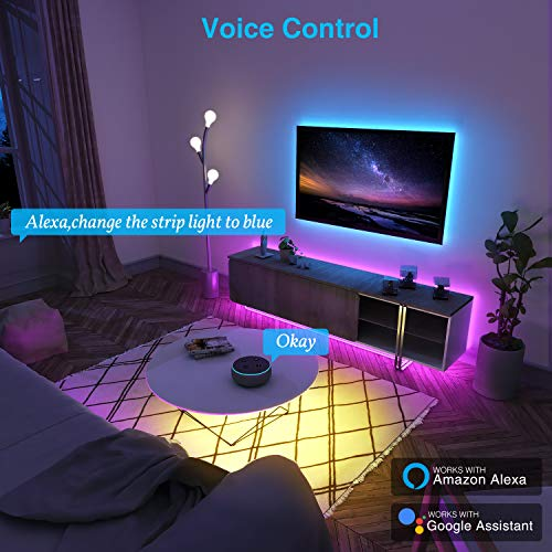 NiteBird Smart WiFi LED Strip Lights 16.4ft Works with Alexa Google Home, App and Voice Control, Music Sync, 16 Million RGB Color Changing Led Lights for Bedroom, Party, Desk, Home Decoration, TV
