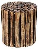 Anaya Handicrafts Shoppee Wooden Round Shape Stool/Chair Natural Blocks (Brown, 12 Inches)