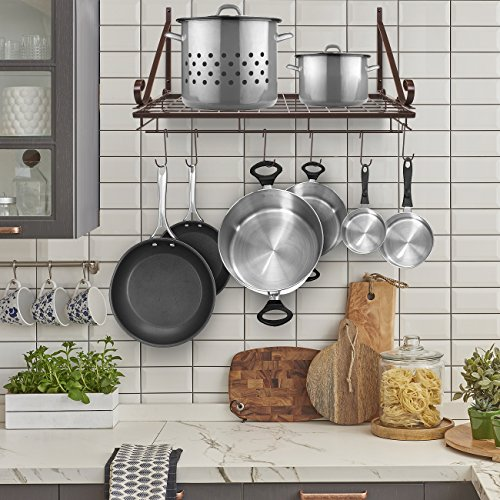 Sorbus Pots and Pan Rack — Decorative Wall Mounted Storage Hanging Rack — Multipurpose Wrought-Iron shelf Organizer for Kitchen Cookware, Utensils, Pans, Books, Bathroom (Wall Rack - Bronze) by Sorbus (Image #2)