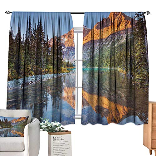 Unprecall National Parks Small Window Curtain Canadian Rocky Mountain Range on Edith Cavell Lake Pastoral Image Print Multicolor Drapes Panels W63 x L45