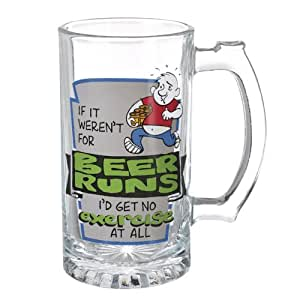 "Grasslands Road Times Are Changing ""If It Weren'T For Beer Runs I'D Get No Exercise"" 15-Ounce Glass Beer Stein"