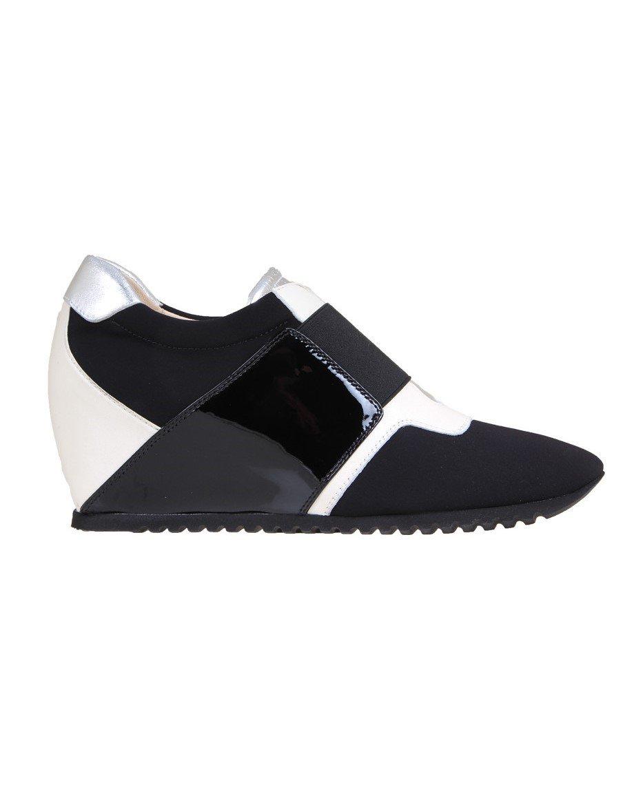 Passione di Gina LA-Chic Fashion Sneaker in Italian Leather and stretch microfiber, in Black & White.